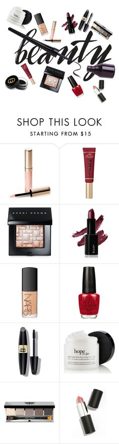 """Keys to Beauty."" by gioellia ❤ liked on Polyvore featuring beauty, By Terry, Too Faced Cosmetics, Bobbi Brown Cosmetics, NARS Cosmetics, OPI, Max Factor, Sigma and Gucci"