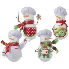 "RAZ Baking Snowman Christmas Ornament Set of 4  4 Assorted styles Set includes one of each Multicolored Made of Polyester Measures 6"" Artist:  Ellen Crimi-Trent RAZ Exclusive"