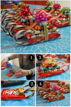 You will love to learn how to make a Christmas Candy Cane Sleigh and they are easy to make and look great. Christmas Candy Crafts, Candy Cane Crafts, Homemade Christmas Gifts, Christmas Goodies, Christmas Projects, Handmade Christmas, Christmas Time, Christmas Crafts, Christmas Ideas