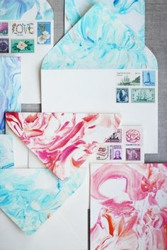 Make your own wedding invitations and use this cool marbling technique.                   Source: Honestly WTF