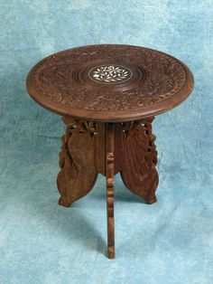 Vtg Small Tea Coffee Carved Wood Rosewood Teak Folding Anglo Indian TABLE  Bone