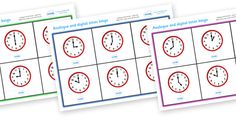 Twinkl Resources >> Analogue And Digital O'clock Bingo  >> Thousands of printable primary teaching resources for EYFS, KS1, KS2 and beyond! time bingo, analogue, digital, time game, time resource, time vocabulary, clock face, O'clock, half past, quarter past, quarter to, shapes, measures,