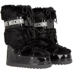 Love Moschino Love Moonboot Fake Fur Nero in black, Boots & Booties ($185) ❤ liked on Polyvore featuring shoes, boots, black, lace up flat shoes, laced boots, flat boots, faux fur shoes and lace up boots