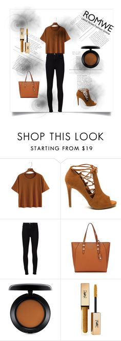 """""""ROMWE logo"""" by lejla-2-1 ❤ liked on Polyvore featuring Frame Denim, MAC Cosmetics and Yves Saint Laurent"""