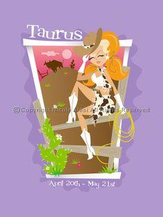 Taurus - Retro Zodiac Magnet. $3.00, via Etsy.