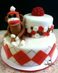 Sock Monkey Baby Shower cake. Gumpaste monkey. All edible