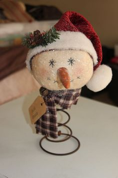 Primitive Snowman Rusty Bed Spring Nodder , Handmade 12'' in height.