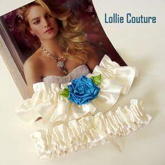 Wedding garter set blue bridal garters ivory by lolliecouture, $38.00