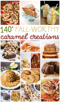 October is National Caramel Month and I am sharing over 140 mouthwatering caramel creations. You don't want to miss these delicious fall recipes! Caramel Recipes, Apple Recipes, Pumpkin Recipes, Fall Recipes, Sweet Recipes, Holiday Recipes, Baking Recipes, Thanksgiving Recipes, Mini Desserts