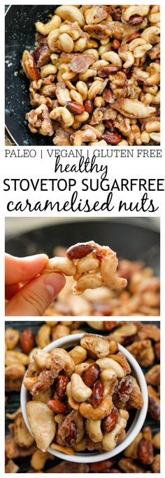 Sugar Free Stovetop Caramelised Nuts- Made stovetop and take 10 minutes! This is PERFECT for gifting, snacking, DIY- They don't taste healthy at all! {vegan, gluten free, paleo}- thebigmansworld.com