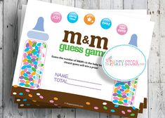 M & M Guess Game, Baby Shower Game, Blue, Boy, PRINTABLE, Candy and Baby Bottles Not Included. $5.99, via Etsy.