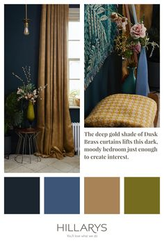 The deep gold shade of Dusk Brass Curtains lifts this deep, dark and moody bedroom, just enough to create interest. Pair with beautiful soft pink flowers to create a contrast against the dark Navy walls. View our Dusk Brass curtains. Lined Curtains, Hanging Curtains, Dark Blue Bedrooms, Night Blinds, Navy Walls, Blue Interiors, Pencil Pleat, Window Dressings, Elle Decor