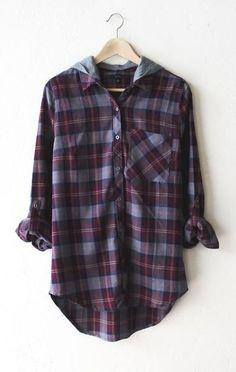 Hooded Plaid Flannel Shirt