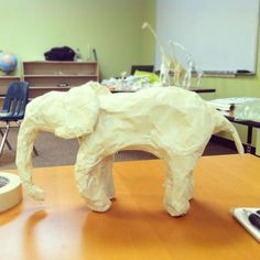 A simple and fun art project for my class using just foil and masking tape! Here's my baby elephant sculpture :)
