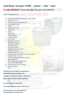 Used Epson AcuLaser C1000 – printer – color – laser for sales RM400.00 ; Toner cartridge inclusive 1 set (C/M/Y/K ) Quick Specifications Printer Type Workgroup printer – laser – color Weight 98.1 lbs Connectivity Technology wired Max Speed 20 ppm 5 ppm Media Type cards envelopes labels plain paper recycled paper transparencies Media Sizes … Envelope Labels, Stock Clearance, Printer Types, Laser Printer, Toner Cartridge, Epson, Color, Colour, Colors