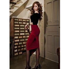 Designer Clothes, Shoes & Bags for Women Wool Dress, Dress First, Korean Style, Black Wool, Korean Fashion, Formal, Lady, Polyvore, Skirts