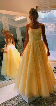 This dress could be custom made, there are no extra cost to do custom size and color, A Line Yellow Tulle Prom Dresses with Lace Appliques, Criss Cross Straps Formal Dresses Stunning Prom Dresses, Pretty Prom Dresses, Hoco Dresses, Tulle Prom Dress, Elegant Dresses, Homecoming Dresses, Evening Dresses, Wedding Dresses, Sexy Dresses