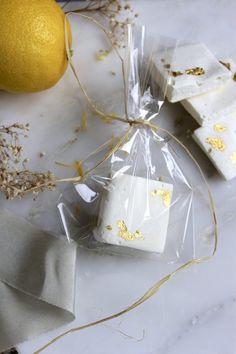 Lemon Marshmallows with gold gilding. Edible wedding favours by Yolk. www.cakesbyyolk.com