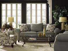 grey living rooms | bit country class but I love the dark gray walls.