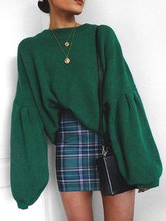To School Outfit plaid Fashion Round Collar Long Sleeve Loose Comfortable Sweater Moda gola redonda manga longa solta camisola confortável Mode Outfits, Skirt Outfits, Fall Outfits, Casual Outfits, Fashion Outfits, Fashion Trends, Womens Fashion, Ladies Fashion, Fashion Ideas