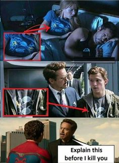 iron man and spider man humor