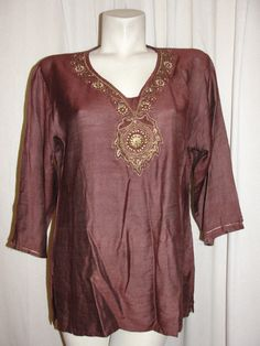 Brown Linen Blend Beaded Embellished Vneck 3/4 Slv Tunic Top Sz XXL (fits L/XL) #Unbranded #Tunic #Casual
