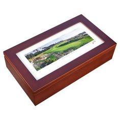 Stonehouse Mahogany Cigar Humidor -- Famous Golf Courses - SPYGL4H