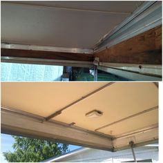 Removing mold from the boards. We used a large amount of white vinegar which resolved most of the issue, then coated the boards with kilz Pop Up Trailer, Trailer Remodel, Remodeled Campers, White Vinegar, Boards, Camping, Planks, Campsite, Outdoor Camping