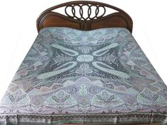 INDIAN PASHMINA BEDSPREAD PURPLE PAISLEY REVERSIBLE BED COVER BLANKET BEDDING…