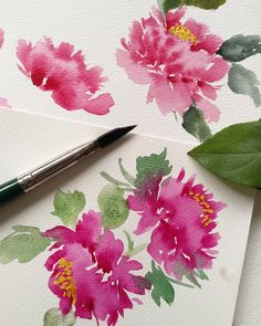 """1,783 mentions J'aime, 14 commentaires - Esther Peck (@estherpeck) sur Instagram : """"Painting Chinese Peonies Mudan with #silverbrushlimited Silver Satin Ruby Triangle Brush M. Video…"""""""