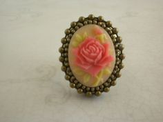 Victorian Pink Rose Poison Ring in Antiqued Bronze with adjustable base,  Victorian Elegance locket Ring with secrect compartment, $18.00