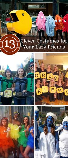 These clever yet simple group Halloween costumes will be sure to get your friends group bottom in gear for Halloween!