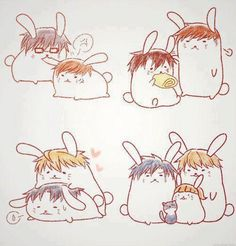 Sekai Ichi Hatsukoi - Takano and Ritsu / Hatori and Chiaki / Kisa and Yukina / Yokozawa, Kirishima, Hiyori, and Sorata : Bunnies