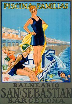 Al balneario catalán, a la moda española. Bañadores con falda, la moda de los años 20 en España. Este cartel data de 1925 y muestra lo que es el disfrute de la época para aquellos que podían pisar un balneario como el San Sebastián de Barcelona: una amplia piscina para familias repleta de bañadores monocromáticos.