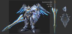 ArtStation - heaven knight of mecha, sky 陈 Fantasy Armor, Fantasy Weapons, Fantasy Characters, Anime Characters, Mecha Suit, Transformers Characters, Angel Warrior, Sci Fi Armor, Robot Concept Art