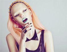 punk girl makeup for the new breed Peach Hair, Apricot Hair, Foto Fashion, High Fashion, Fashion Shoot, Editorial Fashion, Fashion Women, Blue Lipstick, Lipstick Shades
