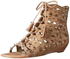 Sam Edelman Women's Daphnie Gladiator Sandal => More infor at the link of image : Wedge sandals Roman Sandals, Gladiator Sandals, Wedge Sandals, Shoes Sandals, Heels, Shoe Game, Open Toe, Combat Boots, Womens Fashion
