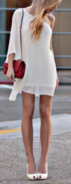 Chiffon.  I have a coral dress like this but you can never go wrong with white