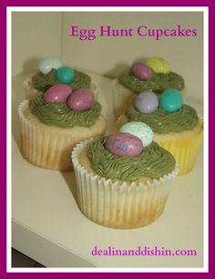 Two easy Easter cupcakes ideas using M's or chocolate bunnies.