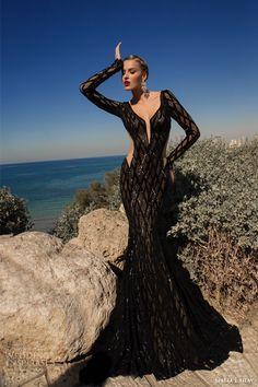 galia lahav 2014 moonstruck meteor black dress long sleeves in sheer net, lycra net & embroidered tulle; front view