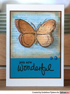 Card by Godelieve Tijskens using Darkroom Door Fine Butterflies and Simple Sayings Vol 2 Rubber Stamp Sets