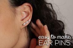 Curly Made: DIY Easy To Make Ear Pins. #diy #earrings #ear_pins #earpins #tutorial
