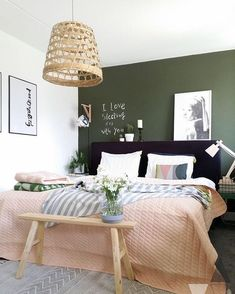 home accents walls Scandinavian style bedroom with dark green wall. We examine the three key ways to go green with the new interior design trend for dark green walls. From Scandinavian style to gold and copper accents, to emerald green and monochrome. Green Accent Walls, Dark Green Walls, Green Accents, Olive Green Walls, Blue Walls, Bedroom Green, Home Bedroom, Master Bedroom, Bedroom Ideas