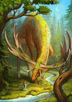 Deer god, Alexandra Semushina on ArtStation at https://www.artstation.com/artwork/deer-god-b7dc3fdf-c189-499f-a085-fa2649f5353d
