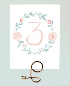 Romantic Watercolor Wreath Table Numbers by Leveret Paperie