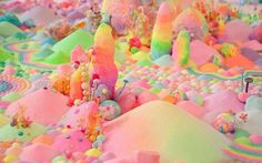 Australian artist Tanya Schultz works as Pip & Pop to create immersive installations and artworks from an eclectic range of materials including sugar, glitter, candy, plastic flowers, everyday … Colorful Candy, Candy Colors, Pink Candy, Katy Perry Gif, Candy Art, Eye Candy, Glitter Art, Sugar Glitter, Floor Art