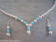 2dr Bespoke Handmade Pearl and Diamante Necklace & Earrings Set - Choose Colours