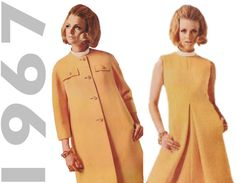 1960s Designer Dress, McCalls N1014 sz 12 b 32, New York Designers, 1960s Mod Dress, Inverted Pleat Dress, 1960s Coat Pattern, Mod Coat, Laird-Knox  Rare Pattern by the design house Laird-Knox. Brilliant mod dress from 1967. Has front inverted pleat and contrast bias rolled collar. Lined coat has back button trimmed belt detail, no collar, bracelet-length sleeves and buttoned flaps.  Size 12 Bust 32   See photo of back of envelope for pattern details.  Pattern is cut and complete.  Visit my…