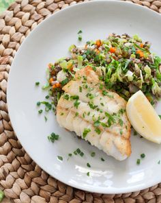 Seared Hake with Warm Lentils & Brussels Sprouts - a nice, light and tasty dinner. The lentils and brussel sprouts provide a great background for the citrus covered fish and other root veggies. Fish Recipes, Seafood Recipes, Cooking Recipes, Healthy Recipes, Seafood Recipe For Christmas, Roasted Fennel, Clean Eating, Healthy Eating, Lentil Salad