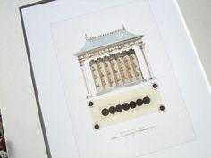 Architectural Drawing Storage sepia pagoda blueprint 4 garden architectural plan archival print
